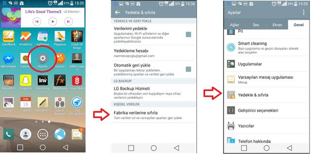 Android telefonlarda format atma